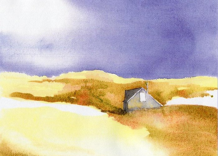 Provincetown Greeting Card featuring the painting Provincetown Dune Shack by Joseph Gallant
