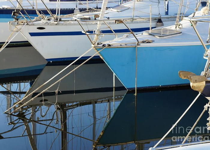 Yachts Greeting Card featuring the photograph Prows Of Boats by Silvia Di Falco