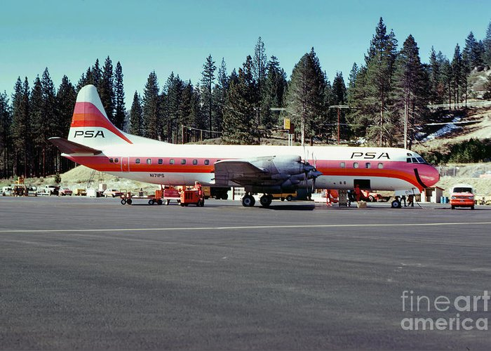 N171ps Greeting Card featuring the photograph Psa Lockheed L188c Electra  N171p Cindy Lake Tahoe Airport by Wernher Krutein