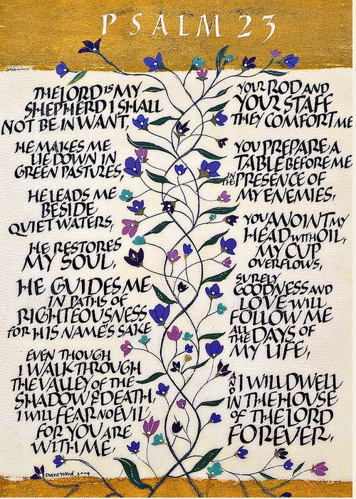 Catholic Art Greeting Card featuring the drawing Psalm 23 by Dave Wood
