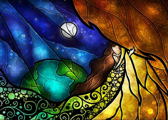 Woman Greeting Card featuring the digital art Psalm 91-4 by Mandie Manzano