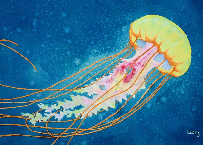 Jellyfish Greeting Card featuring the painting Psychadelic Jelly by Jeff Lucas