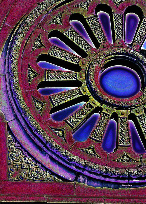 Window Greeting Card featuring the photograph Psychedelic Church Window by Phyllis Denton