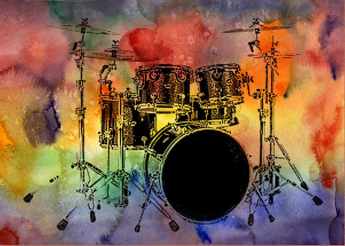 Drums Greeting Card featuring the photograph Psychedelic Drum Set by Athena Mckinzie