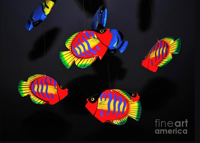 Photography Greeting Card featuring the photograph Psychedelic Flying Fish by Kaye Menner