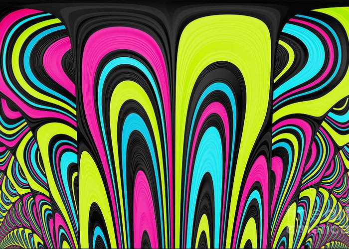 Psychedelic Art Digital Art Greeting Card featuring the digital art Psychel - 007 by Variance Collections