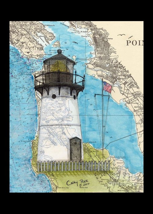 Point Greeting Card featuring the painting Pt Montara Lighthouse Ca Nautical Chart Map Art Cathy Peek by Cathy Peek