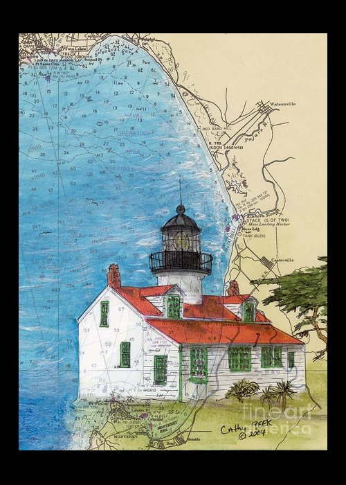Point Greeting Card featuring the painting Pt Pinos Lighthouse Ca Nautical Chart Map Art Cathy Peek by Cathy Peek