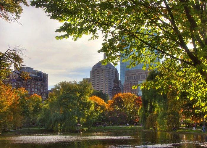 Boston Greeting Card featuring the photograph Public Garden Skyline by Joann Vitali