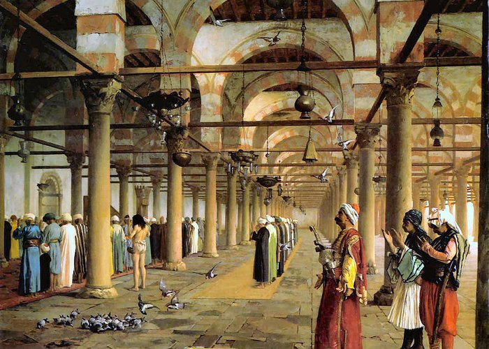 Public Prayer In The Mosque Greeting Card featuring the digital art Public Prayer In The Mosque by Jean Leon Gerome