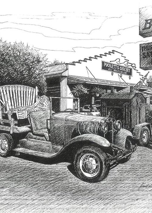 Leipers Fork Greeting Card featuring the drawing Puckett's Grocery And Restuarant by Janet King