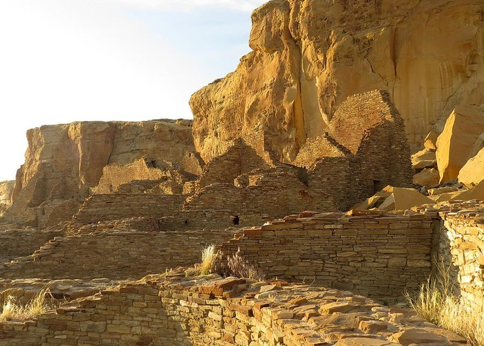 Chaco Greeting Card featuring the photograph Pueblo Bonito And Cliff by Feva Fotos