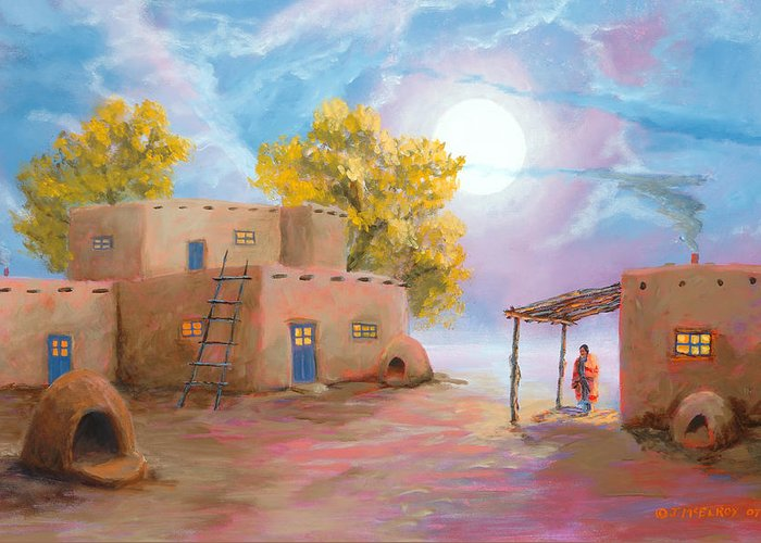Pueblo Greeting Card featuring the painting Pueblo De Las Lunas by Jerry McElroy