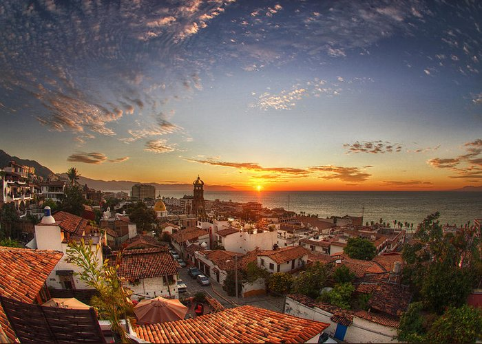 Landscape Greeting Card featuring the photograph Puerto Vallarta Sunset by Shanti Gilbert