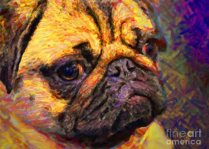 Animal Greeting Card featuring the photograph Pug 20130126v1 by Wingsdomain Art and Photography