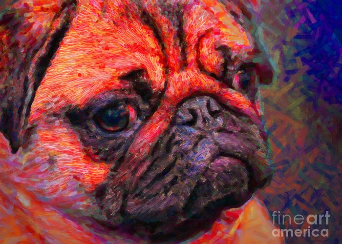 Animal Greeting Card featuring the photograph Pug 20130126v2 by Wingsdomain Art and Photography