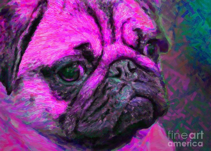 Animal Greeting Card featuring the photograph Pug 20130126v3 by Wingsdomain Art and Photography