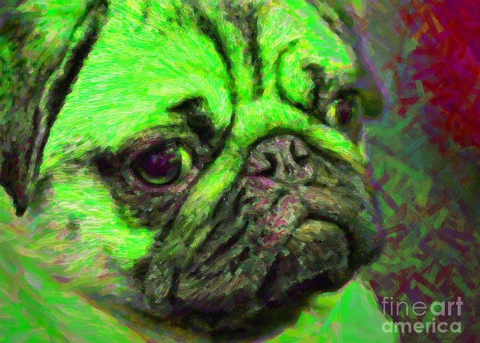 Animal Greeting Card featuring the photograph Pug 20130126v4 by Wingsdomain Art and Photography
