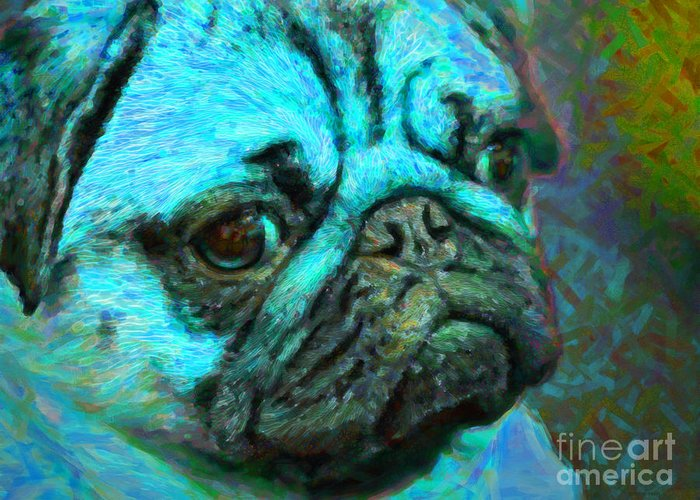 Animal Greeting Card featuring the photograph Pug 20130126v5 by Wingsdomain Art and Photography