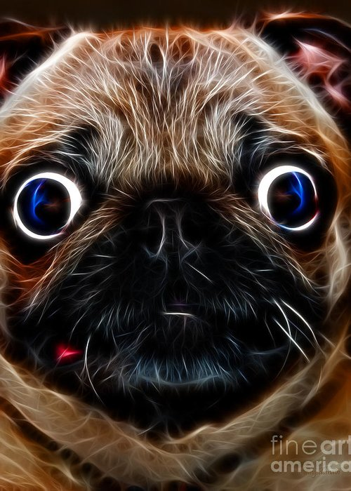 Animal Greeting Card featuring the photograph Pug Dog - Electric by Wingsdomain Art and Photography