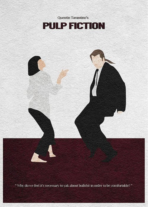 Pulp Fiction Greeting Card featuring the digital art Pulp Fiction 2 by Inspirowl Design