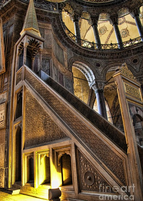 Turkey Greeting Card featuring the photograph Pulpit In The Aya Sofia Museum In Istanbul by David Smith