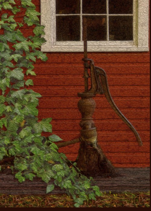Landscape Greeting Card featuring the painting Pump by Jack Zulli