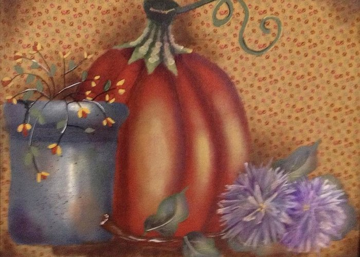 Pumpkin Greeting Card featuring the painting Pumpkin by Laura Marie