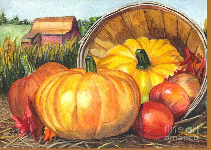 Pumpkin Greeting Card featuring the painting Pumpkin Pickin by Carol Wisniewski