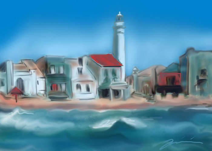 Punta Secca Greeting Card featuring the painting Punta Secca Sicily by Jean Pacheco Ravinski