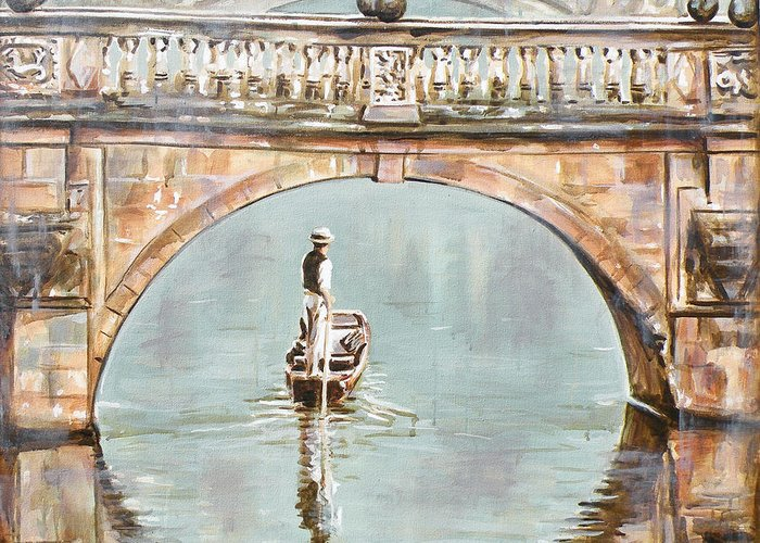 Cambridge Painting Greeting Card featuring the painting Punting On River Cam Under Clare Bridge by Leigh Banks