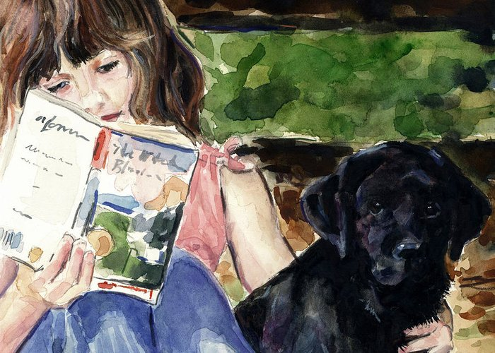 Black Lab Puppy Greeting Card featuring the painting Pup And Paperback by Molly Poole