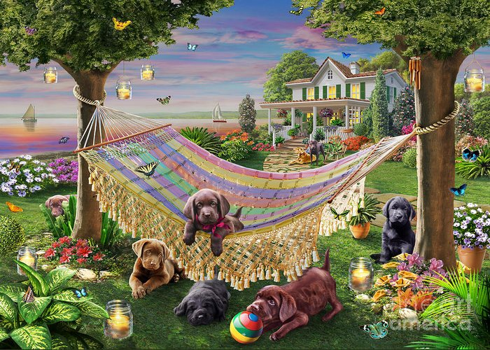 Adrian Chesterman Greeting Card featuring the digital art Puppies And Butterflies by Adrian Chesterman