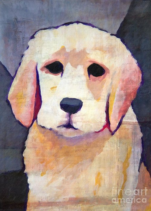 Puppy Dog Greeting Card featuring the painting Puppy Dog by Lutz Baar