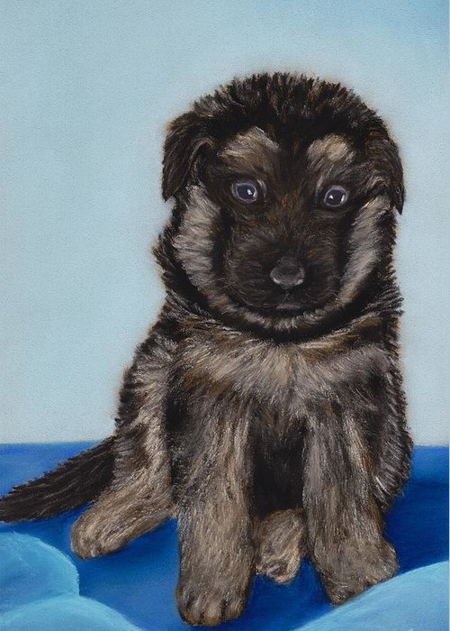 Puppy Greeting Card featuring the painting Puppy - German Shepherd by Anastasiya Malakhova