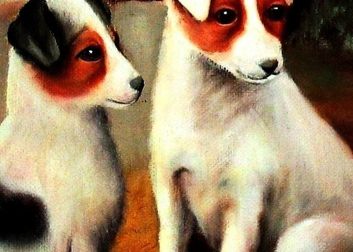 Dogs Greeting Card featuring the painting Puppy Love 2 by Hazel Holland