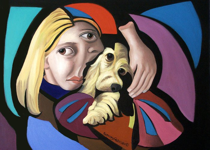 Puppy Love Framed Prints Greeting Card featuring the painting Puppy Love by Anthony Falbo