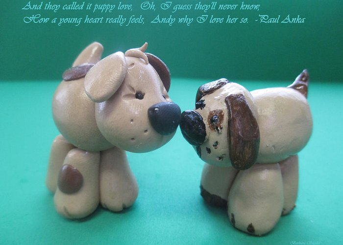 Puppy Love Greeting Card featuring the digital art Puppy Love by Barbara Snyder