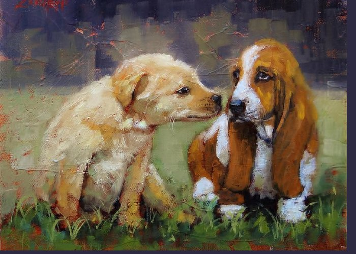 Puppies Greeting Card featuring the painting Puppy Love by Laura Lee Zanghetti