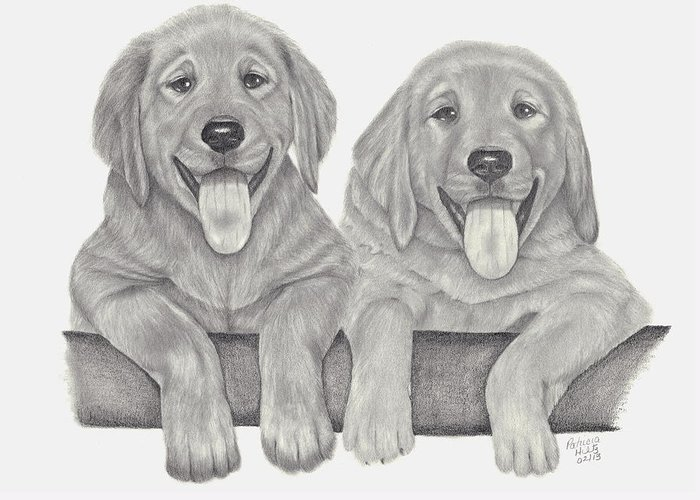 Puppies Greeting Card featuring the drawing Puppy Love by Patricia Hiltz