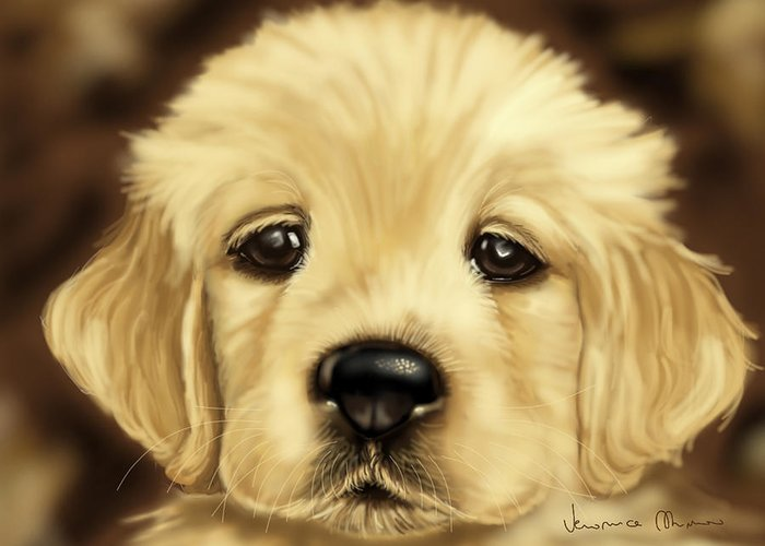 Dog Greeting Card featuring the painting Puppy by Veronica Minozzi
