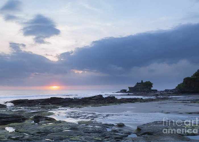 Asia Greeting Card featuring the photograph Pura Tanah Lot Temple At Sunset In Bali by Roberto Morgenthaler
