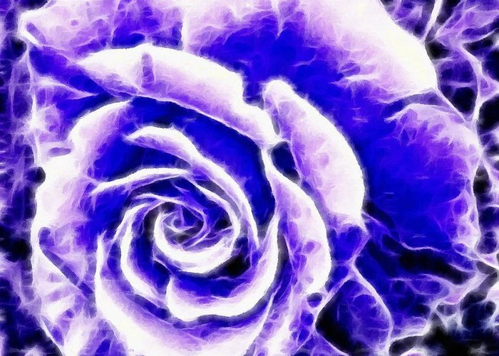 Purple And Blue Rose Expressive Brushstrokes Greeting Card featuring the photograph Purple And Blue Rose Expressive Brushstrokes by Barbara Griffin