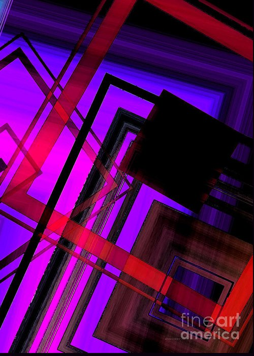 Purple Greeting Card featuring the digital art Purple And Red Art by Mario Perez
