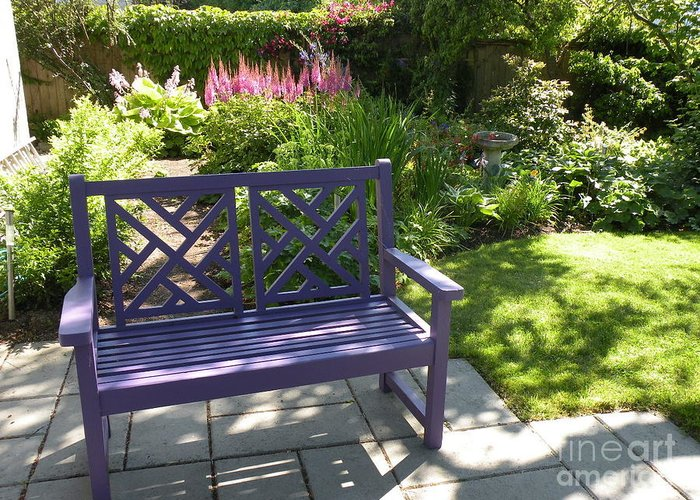 Garden Greeting Card featuring the photograph Purple Bench by Nancy Taylor Major