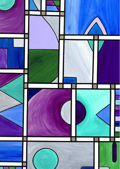 Abstract Canvas Prints Greeting Card featuring the painting Purple -blue -green Abstract 2 by Patty Vicknair