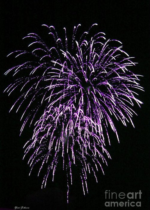Fireworks Greeting Card featuring the photograph Purple Fire by Yumi Johnson