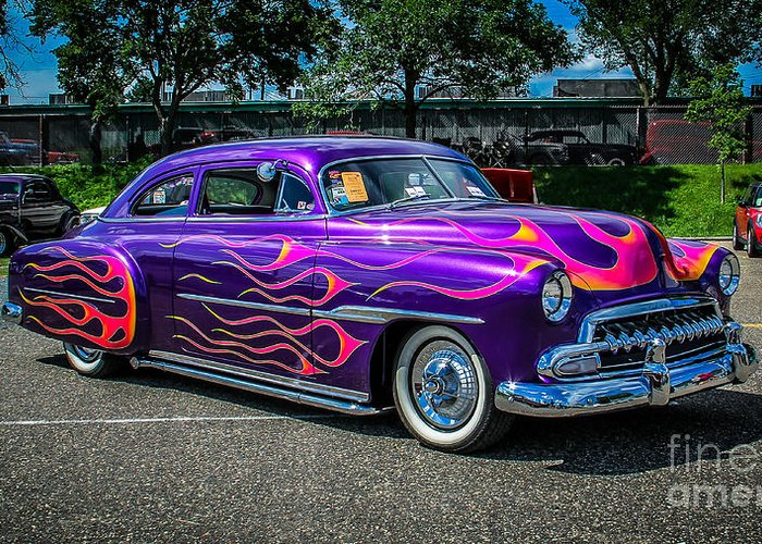 Car Greeting Card featuring the photograph Purple Flame by Perry Webster