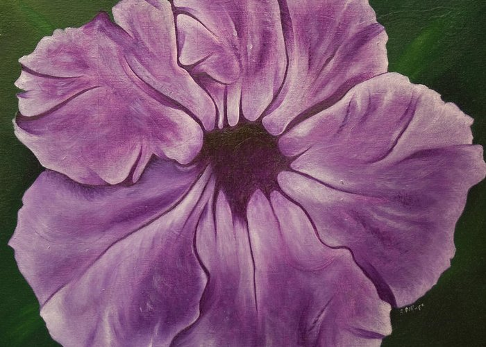 Observational Art Greeting Card featuring the painting Purple Floral #1 by Stephen J DiRienzo