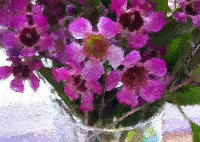 Flowers Greeting Card featuring the painting Purple Flowers by Linda Woods
